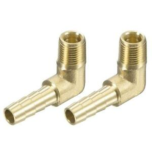 """2pcs Brass Hose Barb Fitting Elbow 1/4"""" x 1/8 NPT Male Thread Pipe Connectors"""