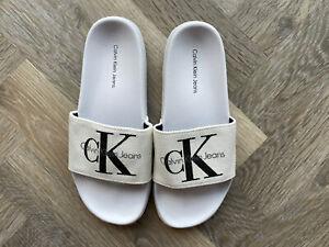 White Calvin Klein Sliders Size 5 UK