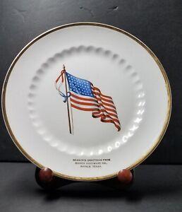 "Vintage Shiner Hardware Co. Texas Advertising Plate ☆ 48 Star US Flag 9"""