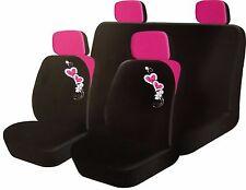 8 piezas Corazón Rosa & Blooms delantera/trasera Niñas Conjunto de Cubierta de asiento de coche + Fundas reposacabezas