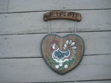 Welcome Sign Rooster Chicken Wood Wall Door Plaque Hand Painted Primitive