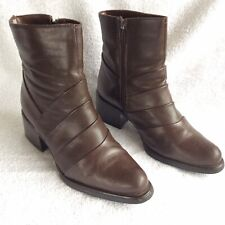 OMEGA - Ladies Brown Leather Ankle Boots - UK 6 EU 39