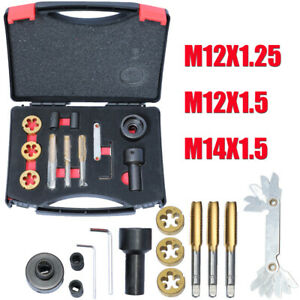 Tap & Die Set for Wheel Studs & Nuts Rethreads Cleans Restore Re-cuts M12 M14