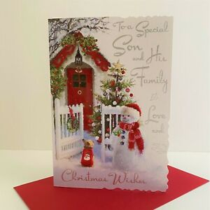 Jonny Javelin Special Son And His Family Christmas Wishes Card Snowman Dog/XV063