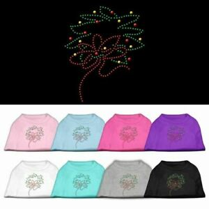Christmas Wreath Rhinestone Dog Cat Pet Puppy Christmas Shirt