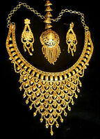 Indian 22k Gold Plated Traditional Weeding Fashion Necklace Earrings Tikka Set h