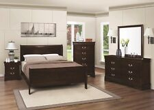 Twin Size Panel Sleigh Bed in Cappuccino 4pc Set Dresser Mirror Nightstand