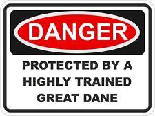Breed Dog GREAT DANE Danger Sticker Pet for Bumper Locker Car Door Locker