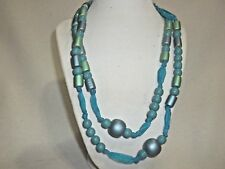 """NEW YOUNG LADIES TURQUOISE BLUE & GREEN BEADED 44"""" NECKLACE - NICE"""