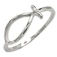 925 Sterling Silver Christian Jesus Ichthys Fish Symbol Faith Ring Sizes 3-12