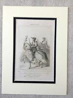 1830 Francese Militare Cavaliere Suit Di Armour Cavallo Originale Antico Stampa