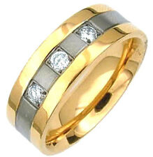 TITANIUM RING with Gold Plated Edges & Three CZ, sizes 8, 9, 10, 11, 12, 13