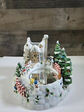 Partylite Snowbell Snowman Ice Skating On Pond Candle Holder Christmas Music Box