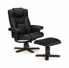 Julian Bowen Malmo Manual Swivel Recliner & Stool in Black Faux Leather