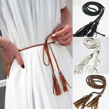 Mujeres Damas Cintura Cadena Correa Cuerda Trenzada Borlas delgada arco cintura anudada