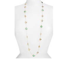 Melinda Maria Women's Long Station Necklace Gold Chrysoprase 35244