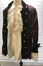 Steampunk Raven Taffeta Red Pirate Jacket With Satin Frill Shirt Chest L 42/44""