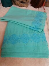 Vintage Embroidered Twin Flat Sheet & 2 Matching Pillowcases Blue & Green