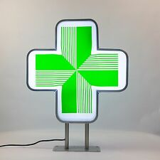 LED Sign Pharmacy CHEMIST Shop Projecting Light box Outdoor Green Cross 55x55cm