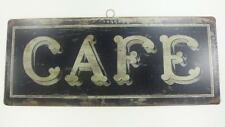 """CAFE French Shabby Distressed Chic Vintage Look 14"""" x 5.75"""" Tin Sign Wall Decor"""