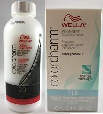 Wella Color Charm Permanent Hair Toner - T18 Lightest Ash Blonde + 20 Developer