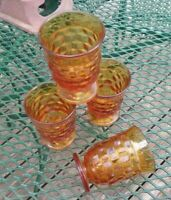 """WHITEHALL Amber Glass by Colony American Cubist JuiceTumblers Set of 4 About 4"""""""