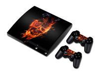 PS3 PlayStation 3 Slim Skin Design Foils Aufkleber Schutzfolie - Burning Skull