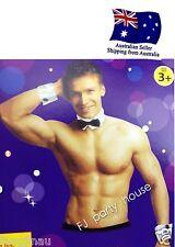 Male Stripper Bow Tie Collar Cuff Set Sexy Waiter Costume Set Hens Night Fun