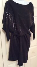 NWT ~ DAVID MEISTER BLACK SEQUINED COCKTAIL DRESS - SIZE 4