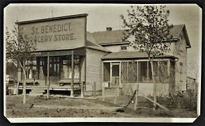 """RPPC  ST BENEDICT ND  """"GROCERY STORE FRONT""""   """"VERY SCARCE TOWN"""""""