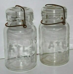 2 Vintage Atlas E-Z Seal Clear quart  Canning Jars w/ Wire Bail & Glass Lids