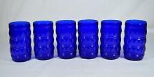 Set of 6 Vintage Cobalt Blue Glass Tumblers - Francesinho Brazil Diamond Pattern
