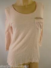 Mujer Rosa 100% algodón con Lentejuelas Bolsillo 3/4 Mangas Camiseta Talla 36