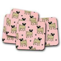 4 Set - Cute Tan Pug Coaster - Pink Paw Prints Dog Puppy Puppies Gift #8612