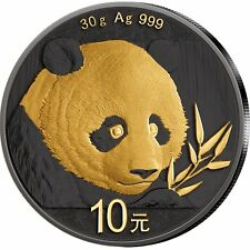 China Panda 30 g 2018 Silber veredelt Schwarz-Ruthenium & 24kt Goldapplikation