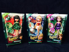 "Bratz Christmas HOLIDAY DOLL SET of 3 Cloe Jade Yasmin 9"" Dolls w/ Ornaments NEW"