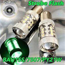 Strobe Flash Rear Turn Signal Light BAU15S 7507 PY21W 80W LED Green Bulb W1 JAE
