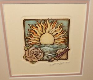 ALICE SCOTT HAND SIGNED SMALL FLOWER AND SUN ETCHING 1991