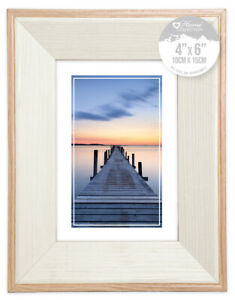Ash Wood Effect & Cream Colour Two Tone Design Picture Photo Frame Various Sizes