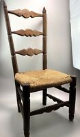 Vintage Handmade Wooden Childs Rush Seat Ladder Back Chair Country House Style