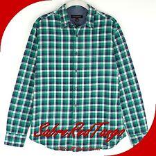 EUC BANANA REPUBLIC MEN'S CLASSIC FLANNEL DRESS SHIRT GREEN BLUE S 15.5 32-33