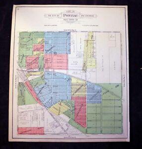 City of Pontiac & Environs sec 33 or sec 32 Plat Map Michigan 1908 Crystal Lake
