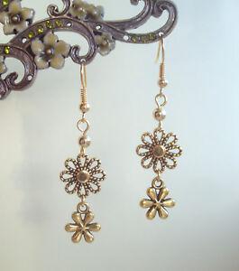 Pretty Golden Filigree Daisy Flowers Dangly Earrings