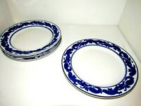 "Bombay Co Dinner Plates, Blue & White Tile Pattern, Platinum Trim 10.5"" Set of 4"