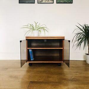 Teak Mid Century Record Cabinet TV Stand Danish Retro Glazed