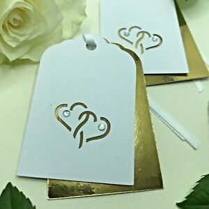 6 Handmade Golden Hearts Double Layer Gift Tags - Wedding Anniversary Engagement