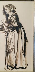 19th CENTURY Ink Wash Drawing Painting Woman In Cap Charles Dickens Character