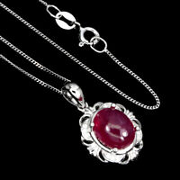 Oval Red Ruby 10x8mm White Cz White Gold Plate 925 Sterling Silver Necklace 18in