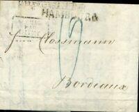 413486) L1 Hambourg + Transit-L1 T.T.R.4 + R3 auf Taxbrief 1825 n. Frankreich