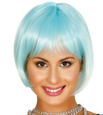 Blue Ombre Bob Wig Synthetic With Fringe Sci-Fi Cosplay Hair High Quality